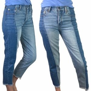 American Eagle Two Tone High Rise Cropped Jeans